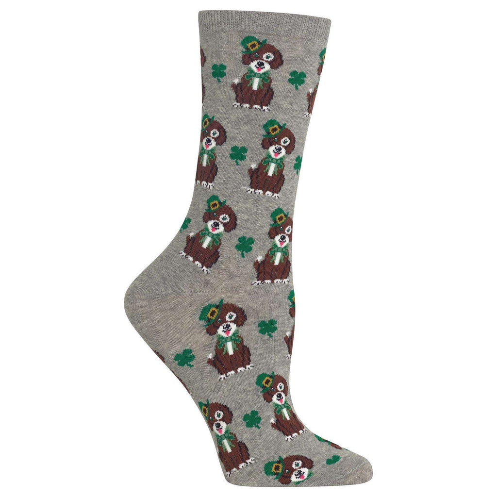 Poocheo:Women's St. Patrick's Day Dog Socks,Sweatshirt Grey Heather