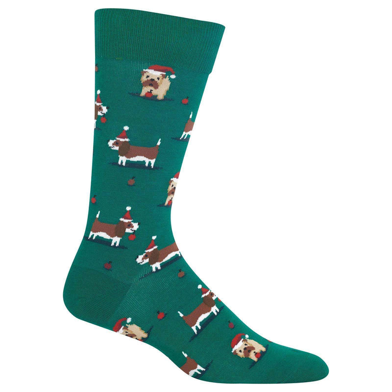 Poocheo.com: Dog Lover Men's Christmas Doggies Socks, Forest Green