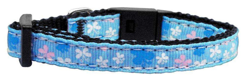 Poocheo:Butterfly Nylon Ribbon Collar - Blue (Multiple Sizes Available),Small