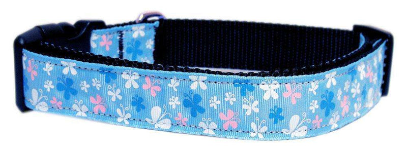 Butterfly Nylon Ribbon Dog Collar in Blue by Mirage