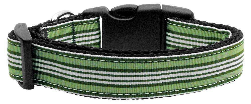 Poocheo:Preppy Stripes Nylon Ribbon Collar - Green/White (Multiple Sizes Available),Medium