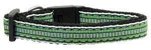Poocheo:Preppy Stripes Nylon Ribbon Collar - Green/White (Multiple Sizes Available),Small