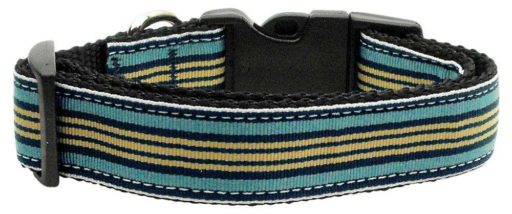 Poocheo:Preppy Stripes Nylon Ribbon Collar - Light Blue/Khaki (Multiple Sizes Available),Medium