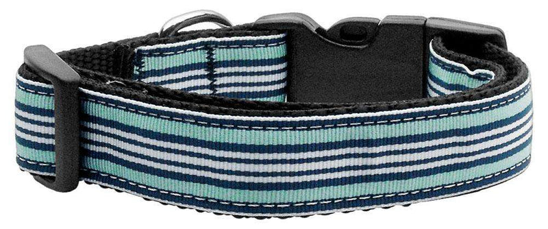 Poocheo:Preppy Stripes Nylon Ribbon Collar - Light Blue/White (Multiple Sizes Available),Medium