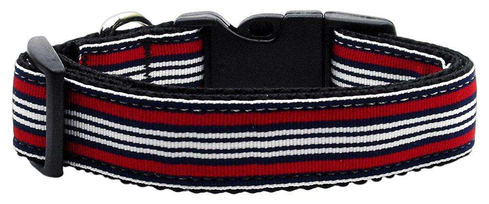 Poocheo:Preppy Stripes Nylon Ribbon Collar - Red/White (Multiple Sizes Available),Medium