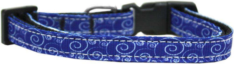 Poocheo:Swirly Nylon Ribbon Collar - Blue and White (Small),Small