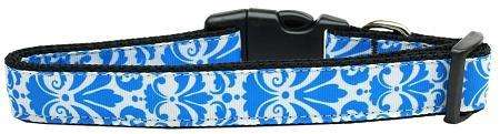 Damask Nylon Ribbon Dog Collar in Blue by Mirage