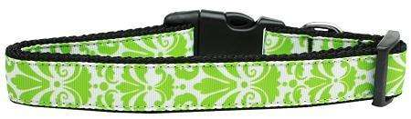 Damask Nylon Ribbon Dog Collar in Lime Green by Mirage