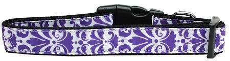 Damask Nylon Ribbon Dog Collar in Purple by Mirage