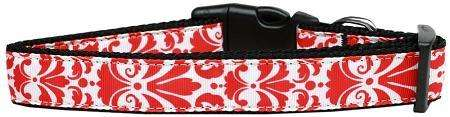 Damask Nylon Ribbon Dog Collar in Red by Mirage