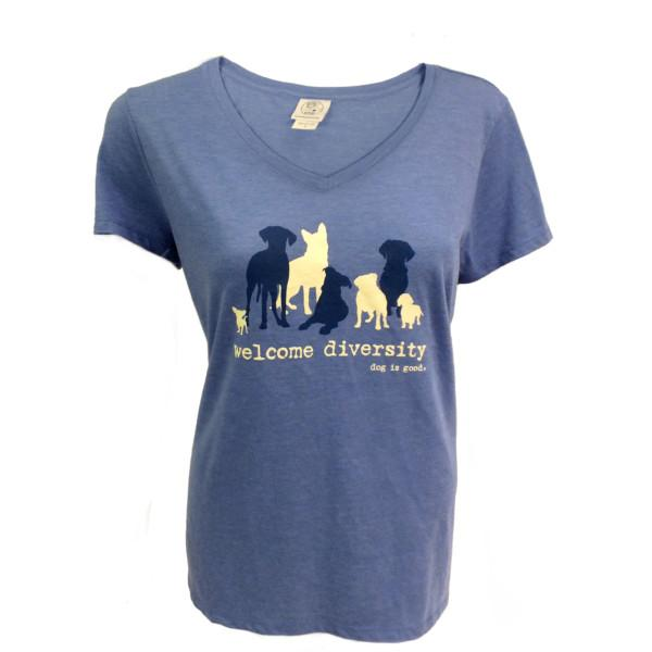 Ladies/Women's V-Neck Tee Shirt for Dog Lovers - Welcome Diversity by Dog is Good