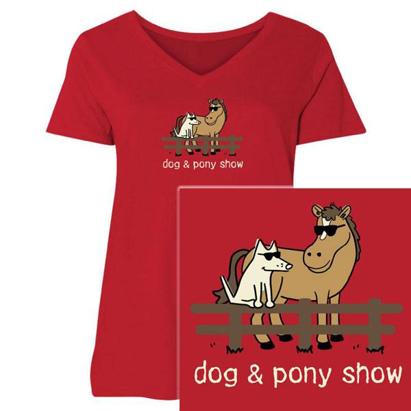 Poocheo:Teddy the Dog Ladies Curvy V-Neck Tee - Dog and Pony Show LIMITED RUN