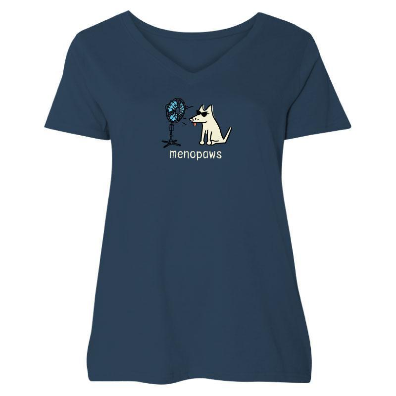 Poocheo:Teddy the Dog Ladies Curvy V-Neck Tee - Menopaws LIMITED RUN,Curvy 1 (14-16) / Navy