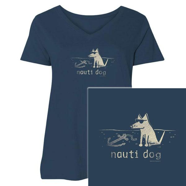 Poocheo:Teddy the Dog Ladies Curvy V-Neck Tee - Nauti Dog LIMITED RUN