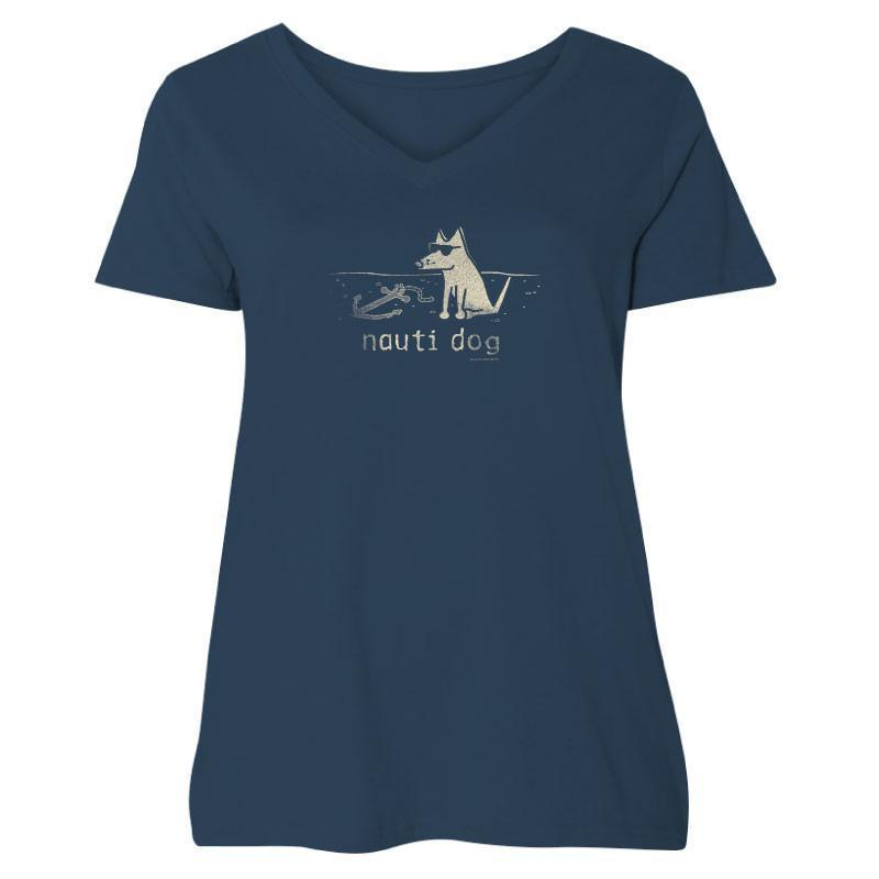 Poocheo:Teddy the Dog Ladies Curvy V-Neck Tee - Nauti Dog LIMITED RUN,Curvy 3 (22-24) / Navy