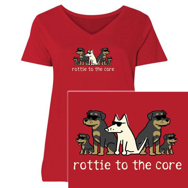 Poocheo:Teddy the Dog Ladies Curvy V-Neck Tee - Rottie to the Core LIMITED RUN