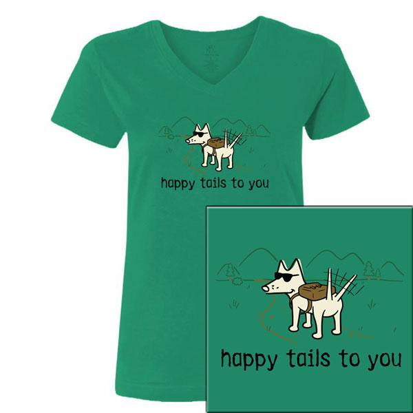 Poocheo:Teddy the Dog Ladies V-Neck Tee - Happy Tails to You