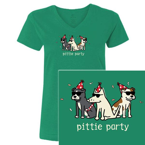 Poocheo:Teddy the Dog Ladies V-Neck Tee - Pittie Party LIMITED RUN