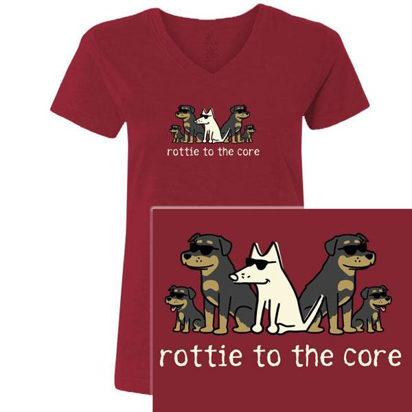 Poocheo:Teddy the Dog Ladies V-Neck Tee - Rottie to the Core LIMITED RUN