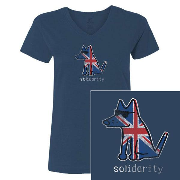 Poocheo:Teddy the Dog Ladies V-Neck Tee - Solidarity for Manchester LIMITED RUN