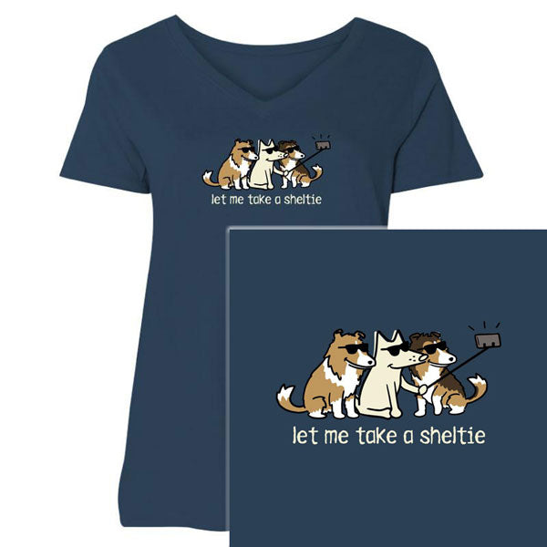Poocheo:Teddy the Dog Ladies Curvy V-Neck Tee - Let Me Take a Sheltie LIMITED RUN