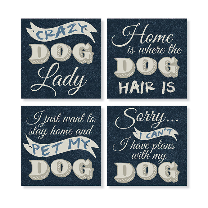 Stoneware Coaster Set of 4 - Funny Dog
