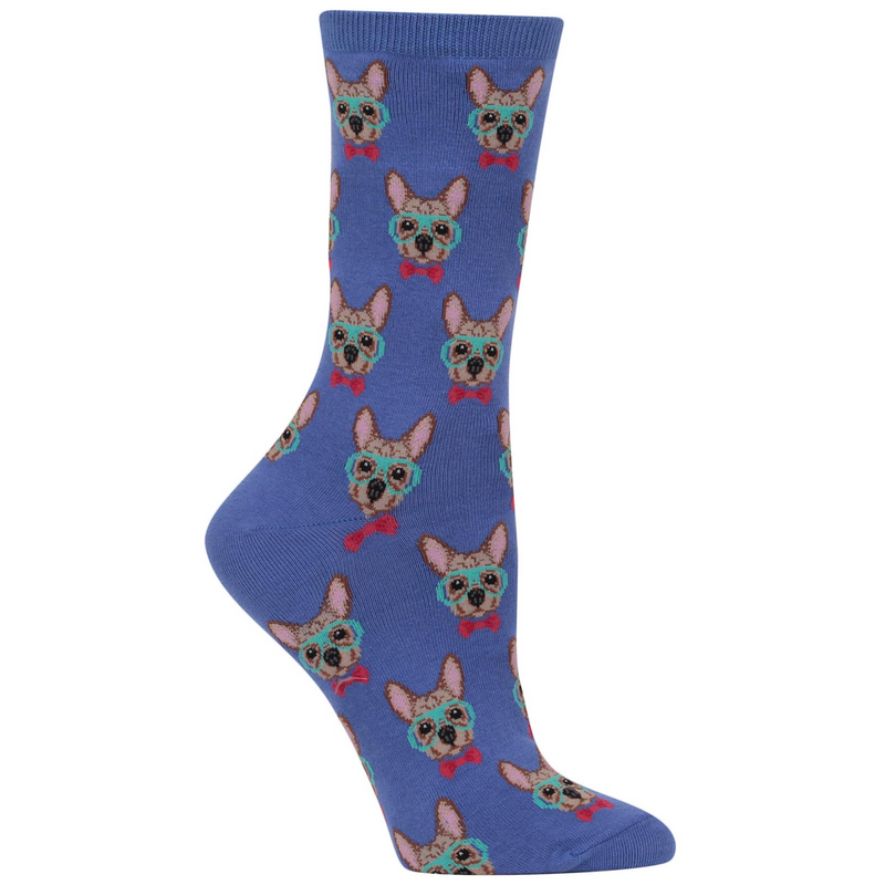 Poocheo:Women's Smart Frenchie Crew Socks,Blue
