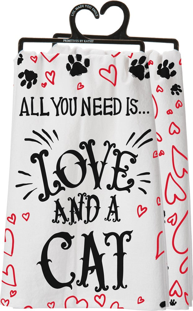 Poocheo.com: Cat Lover Kitchen Towel - All You Need Is Love And A Cat
