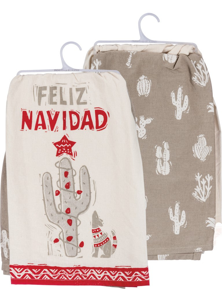 kitchen towel set of 2 feliz navidad