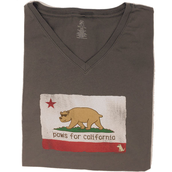 Teddy the Dog Ladies V-Neck Tee - Paws for California