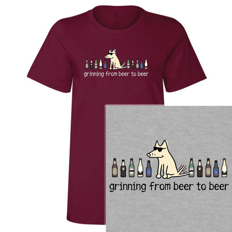 Poocheo.com: Dog Lover & Beer Fan Ladies / Women's T-Shirt - Grinning From Beer To Beer