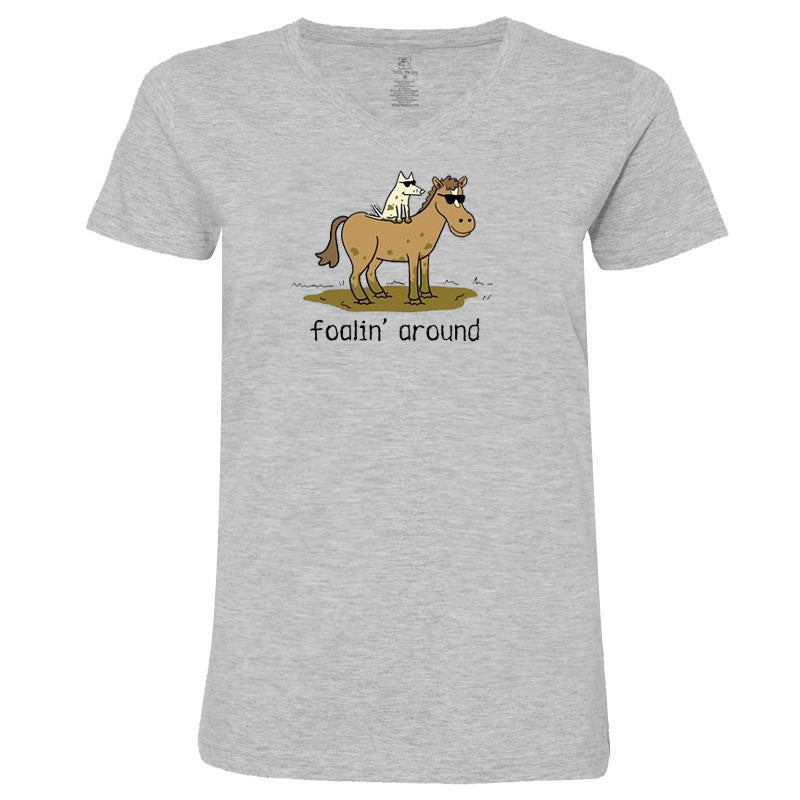 Teddy the Dog Ladies V-Neck Tee - Foalin' Around