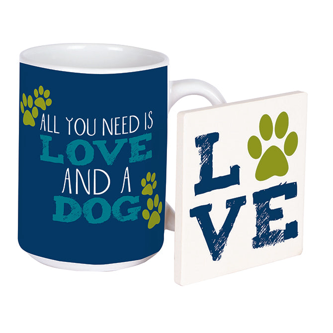 Poocheo.com: Dog Lover Mug & Coaster Set - All You Need Is Love And A Dog