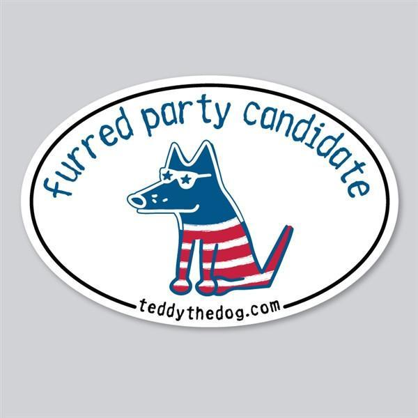 Funny Dog Lover Car Magnet - Furred Party Candidate by Teddy the Dog