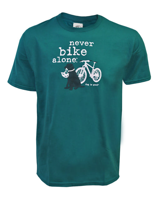 Men's Tee Shirt for Dog Lovers - Never Bike Alone by Dog is Good