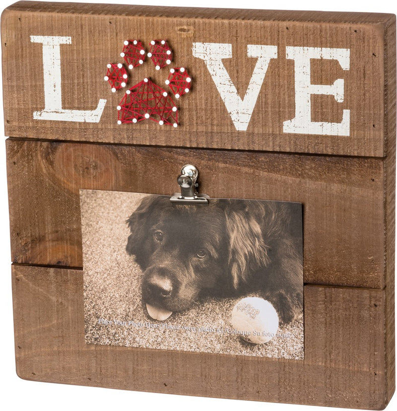 Box Sign Picture Frame With String Art for Dog & Cat Lovers - Pet Love by Primitives by Kathy