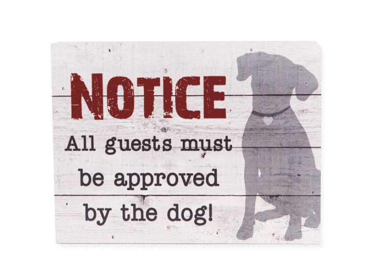 Poocheo:Wood Pallet Box Sign - Notice - All Guests Must Be Approved by the Dog!