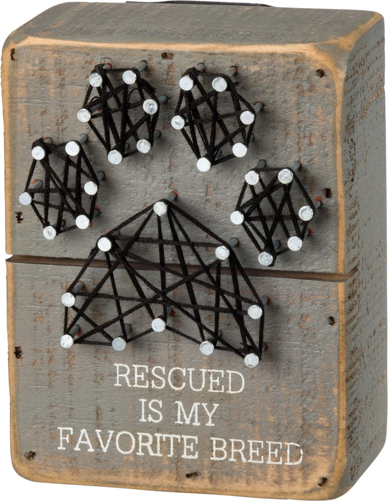 String Art Box Sign - Rescued Is My Favorite Breed