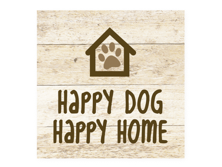 Poocheo:Wood Pallet Magnet - Happy Dog Happy Home