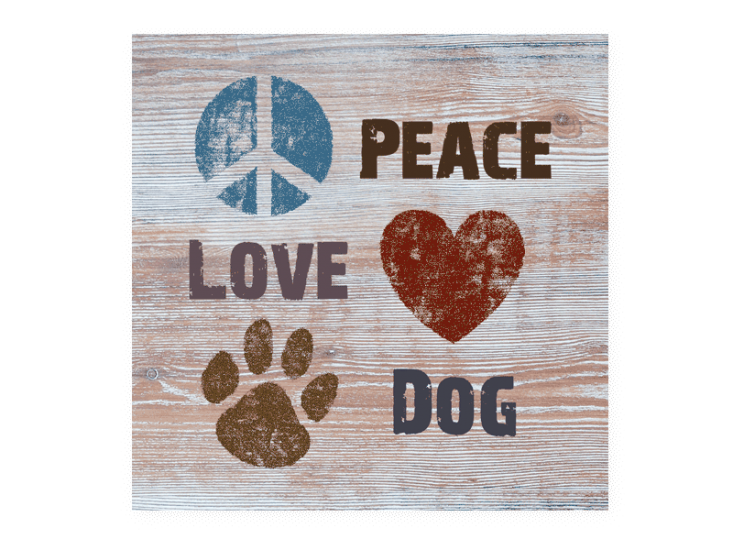 Poocheo:Wood Pallet Magnet - Peace Love Dog