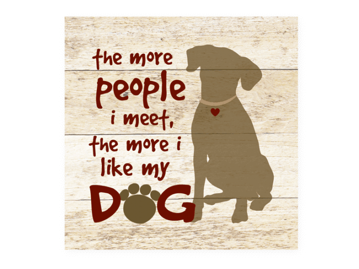 Poocheo:Wood Pallet Magnet - The More People I Meet, The More I Like My Dog