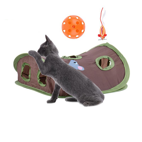 Interactive Cat Playhouse with Toy Mouse and Toy Ball