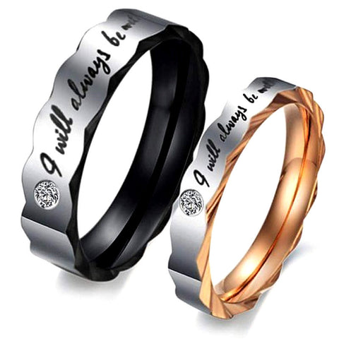 "Romantic Lover ""I will always be with you"" Titanium Couple Rings"