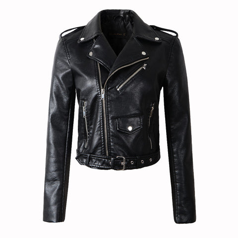 Women Red Faux Leather Jackets