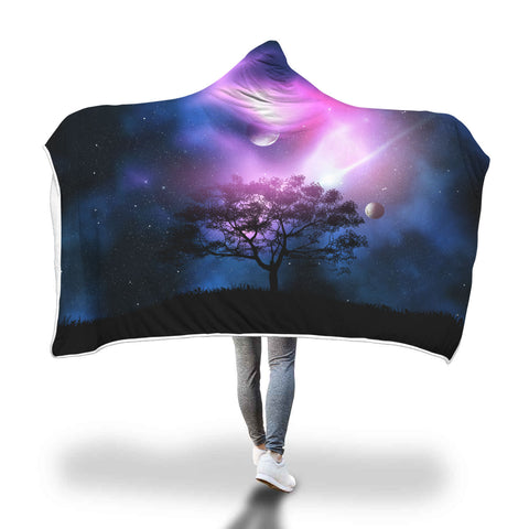 Galaxy by the Tree Hooded Blanket