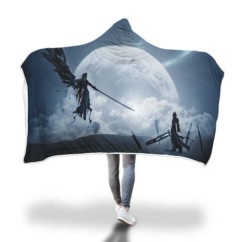 Cloud & The One Winged Angel Hooded Blanket