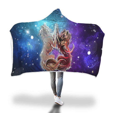 Legendary Twin Wolf Hooded Blanket