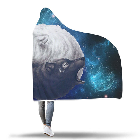 YinYang Wolf Hooded Blanket