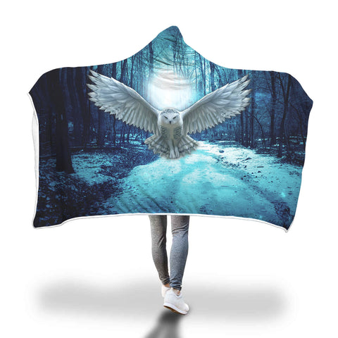 Wisdom of the Snow Owl from the Enchanted Forest Hooded Blanket