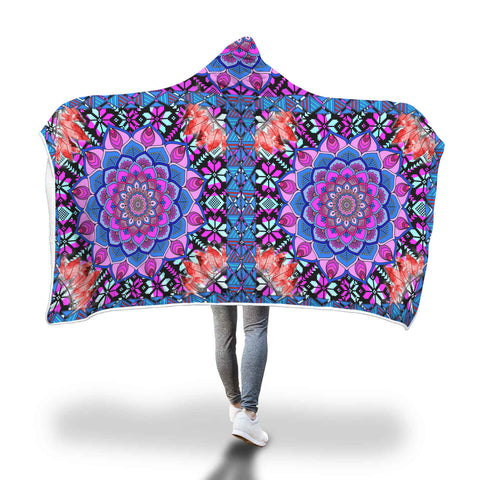 Mesmerising Red Mandala Hooded Blanket